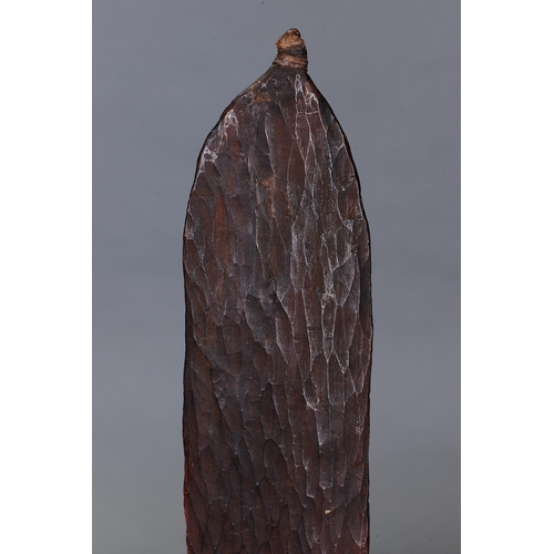 1046 - EARLY SPEAR THROWER (WOOMERA), WESTERN AUSTRALIA, Carved and engraved hardwood (with custom stand) O...