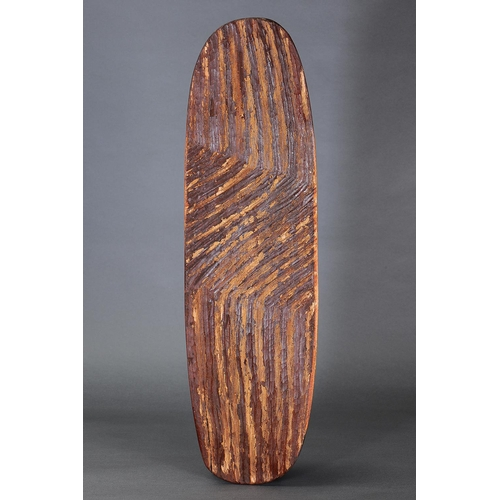 1049 - LARGE WUNDA SHIELD, WESTERN AUSTRALIA, Carved and engraved hardwood and natural pigment (with custom...