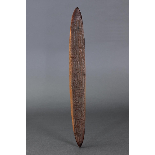 1052 - ABORIGINAL HAIR ADORNMENT, DE GREY RIVER, BROOME, WESTERN AUSTRALIA, Carved and engraved hardwood an...