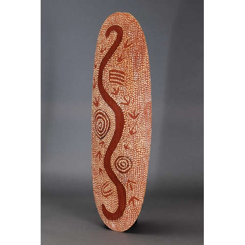 1057 - PAINTED CEREMONIAL SHIELD, DESERT NORTH, NORTHERN TERRITORY, AUSTRALIA, Carved beanwood and natural ...