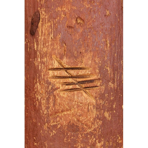 1058 - EARLY SHIELD WITH FIRE TOOL MARKINGS, CENTRAL DESERT REGION, NORTHERN TERRITORY, Carved beanwood and...