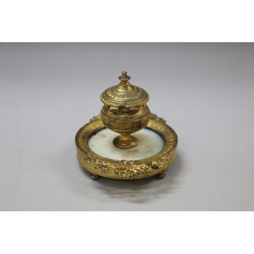 10 - Antique French Louis XVI style gilt single pot inkstand, central marble base, garlands of flowers & ...