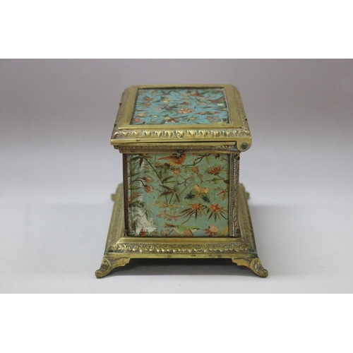 11 - Vintage French gilt, painted wooden panel  metal casket box, decorated with butterflies, flowers & b...