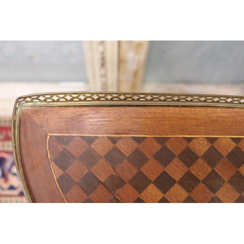 14 - Pair of quality French Louis XV style parquetry nightstands with brass gallery, unique checkered wor...