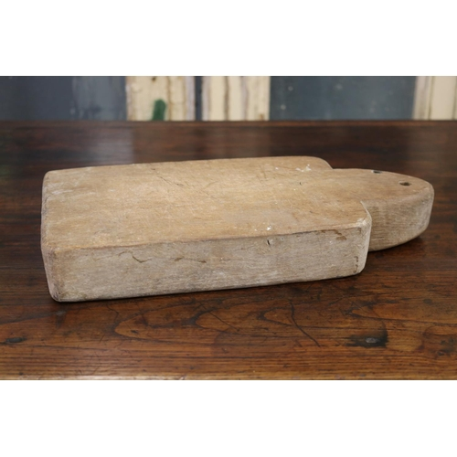 16 - Old rustic French wooden chopping board, approx 34cm L x 16cm W