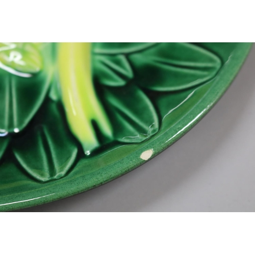 2 - French pottery asparagus service, to include eleven plates & one serving platter, impressed Elchinge...