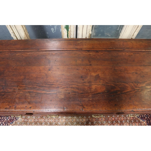 20 - Antique English George III dresser base, three deep drawers, brass hardware, standing on cabriole le...