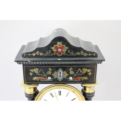 22 - Antique French Napoleon III portico mantle clock, brass, mother of pearl & other inlay decorated, ha...