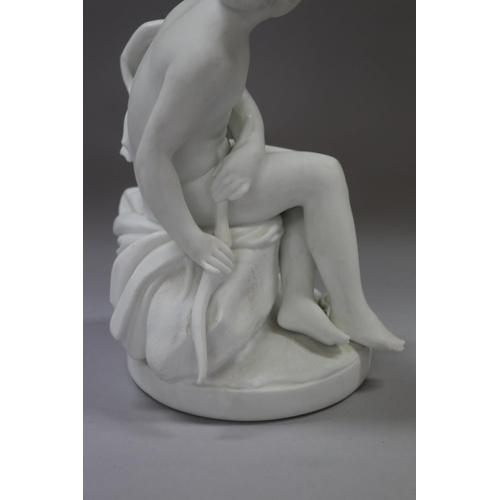 23 - Antique Chelsea Parian ware semi clad young girl figure, holding a bow, green anchor mark to base, a...