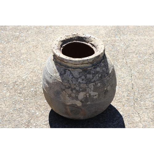 25 - Large Antique French glazed stoneware preserve pot, approx 42cm H x 36cm dia