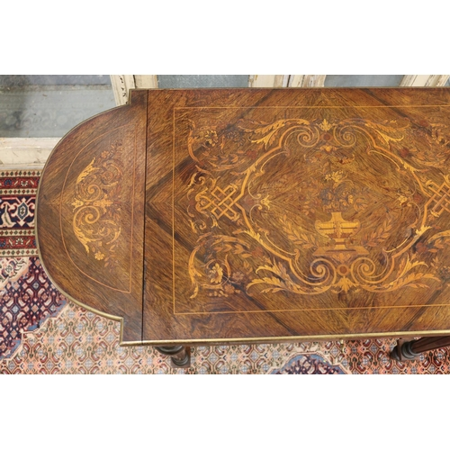 26 - Fine antique French Napoleon III salon table, with shaped side flaps, single drawer, standing on X f...