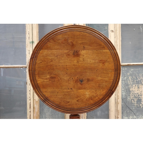 28 - Antique French cherrywood fold over circular pedestal vignerons / wine table, approx 72cm H x 77cm d...