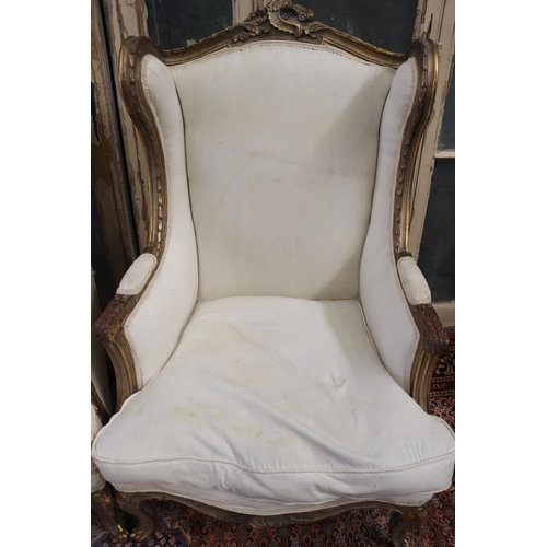 29 - Pair of French Louis XV style generous size wing back armchairs, with linen upholstery, approx 121cm...