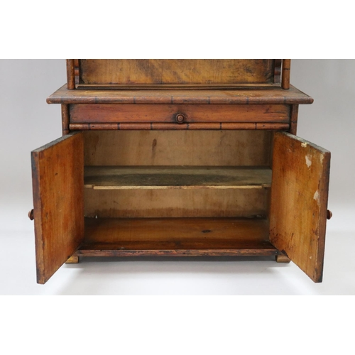3 - Antique French miniature faux bamboo two height buffet hutch, two doors below and faux drawer, behin...