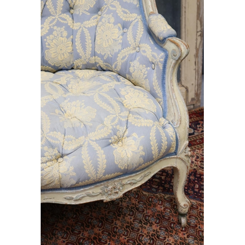 30 - Antique French Louis XV style shaped back settee, painted frame with deep button upholstery, all on ...