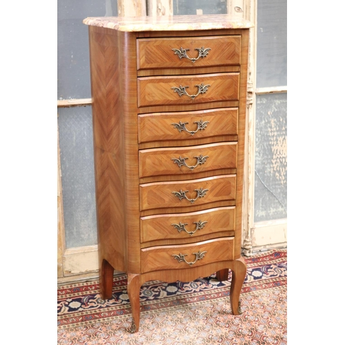 32 - Vintage French Louis XV style seven drawer seminar with marble top, approx 110cm H x 58cm W x 33cm D