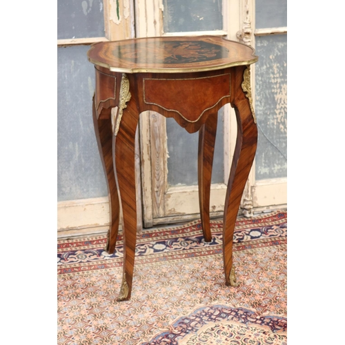 33 - Fine French Louis XV style salon table, marquetry inlay decoration, with musical trophies & gilt bra...