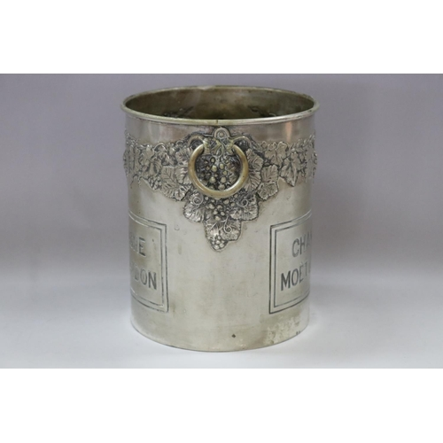 34 - Old French Moet & Chandon Champagne bucket, double sided, grape & vine decoration, with twin handles...