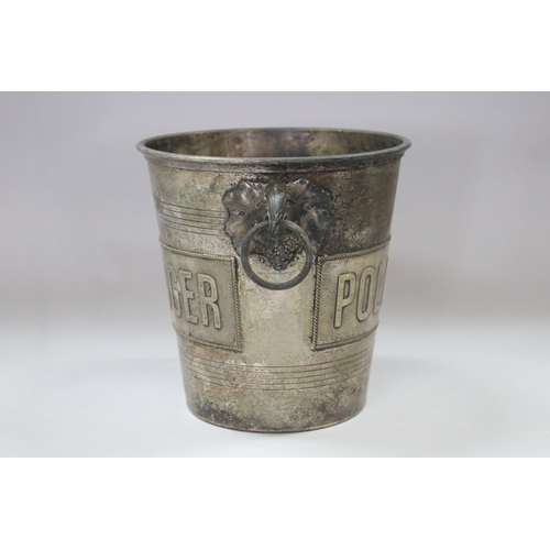 35 - Old French Pol Roger champagne bucket, double sided, approx 20cm H x 20cm dia (excluding handles)