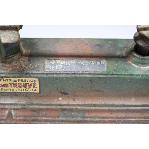 36 - Set of old French weighing scales, with Government issue stamps, approx 23cm H x 45cm W x 18cm D