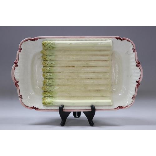 38 - Vintage French Sarreguemines asparagus cradle dish, impressed mark to base, approx 6cm H x 40cm W x ...