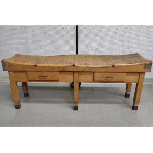 39 - Rare impressive French long wooden chopping block table of large size, approx 93cm H x 240cm W x 61c...