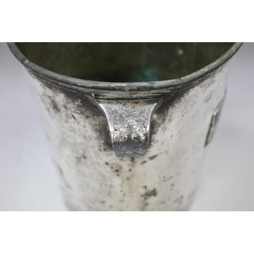 4 - Old French pewter twin handled champagne bucket, with applied blue enamel plaque