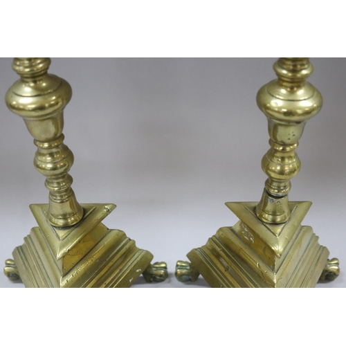 45 - Pair of antique French polished bronze tri-leg prickets, each approx 51cm H (2)
