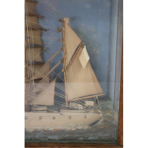 47 - Old French La Frigate three mast cased diorama, approx 42cm H x 63cm W x 21.5cm D