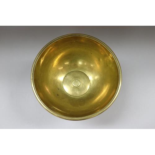48 - Antique French brass pedestal centre bowl, approx 18cm H x 19.5cm dia