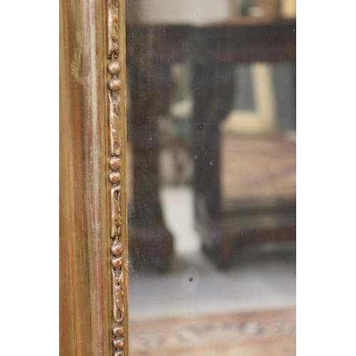 5 - Antique French Louis XV style gilt frame mantle mirror, moulded crest decoration to top, approx 212c...