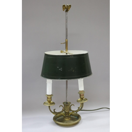 50 - Vintage French Napoleon III two light briolette lamp with toleware shade, brass body, approx 59cm H ...