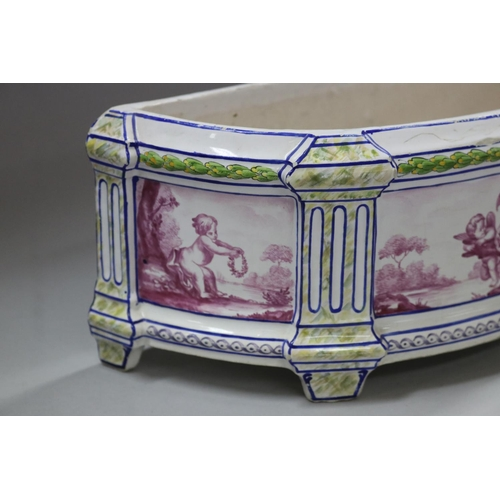 51 - Antique Sceaux French Faience footed demilune planter, hand painted with putti panels, signed to bas...