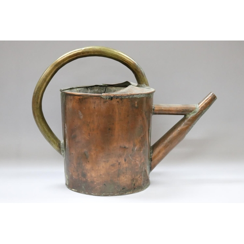 53 - Antique French copper watering can, approx 45cm H x 58cm W x 20cm D