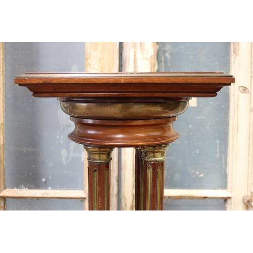55 - Antique French jardiniere stand, with brass banded trim, four fluted column supports,  approx 113cm ...