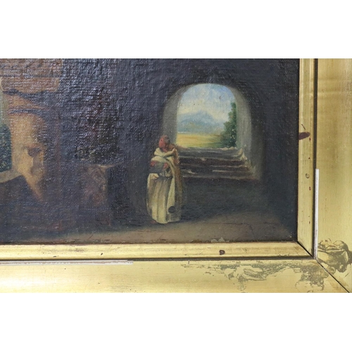58 - Antique French oil on board painting of a Priest in conclave, possibly Laghet Sanctuary, in gilt fra...