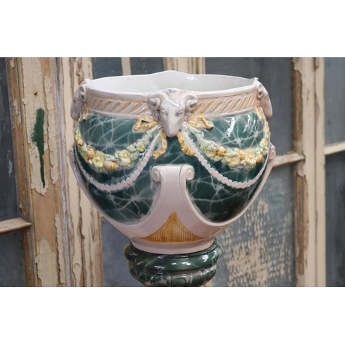 6 - Antique French Art Nouveau majolica glazed pottery jardiniere on stand, both pieces unmarked, total ...