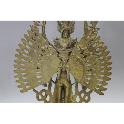 60 - Cast brass figure of Bodhisattva Avalokiteshvara, unknown age, approx 50cm H x 24cm W x 12cm D