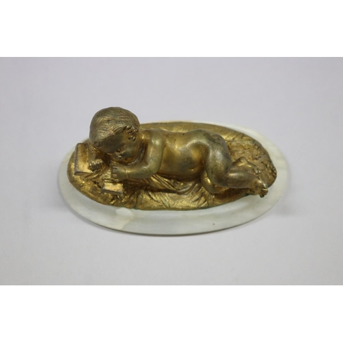 8 - French gilt bronze figure of baby Jesus laying on cross, mounted to alabaster base, unsigned, approx...