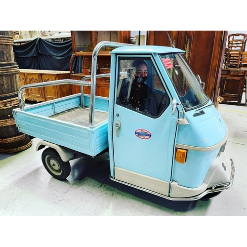 1 - Italian Piaggio Ape 50 4540z in blue, 50 cc, circa 1996, unknown working order and sold as is. Not r...