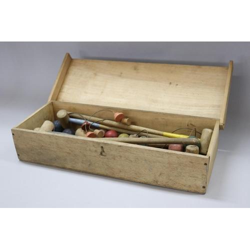 12 - Vintage French indoor croquet set, in wooden box, original paper label reads JEU DE CROQUET, box app...