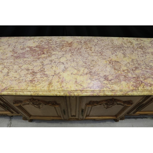 41 - Large vintage French Louis XV style marble top enfilade buffet, four carved panel doors, approx 102c...