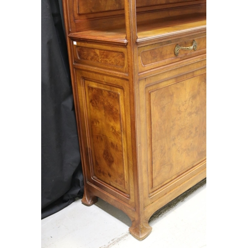 43 - Antique French Art Nouveau two height buffet sideboard, carved supports, wheat motif, two glazed doo...