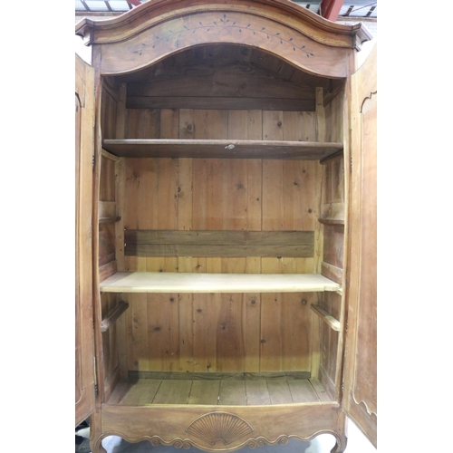 44 - Antique French Louis XV style armoire, with alterations, approx 244cm H x 160cm W x 67cm D