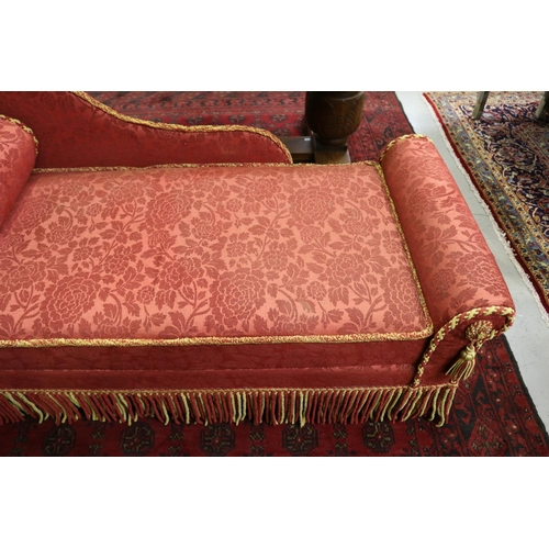 56 - Vintage French chaise lounge, red velour upholstery & fringe, single bolster cushion, approx 71cm H ...