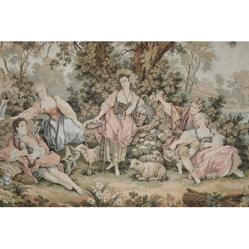 42 - Vintage French framed machine made wall tapestry, frame approx 139cm H x 198cm W