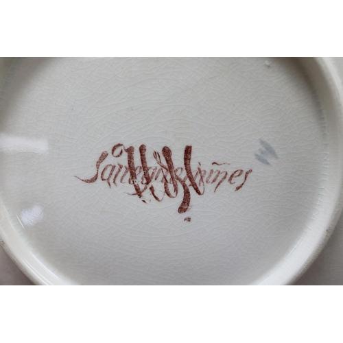 46 - Set of twelve antique French Sarreguemines porcelain plates, showing different scenes of gaming, mar...