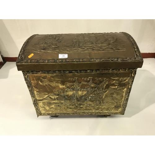 33 - Large brass log basket...